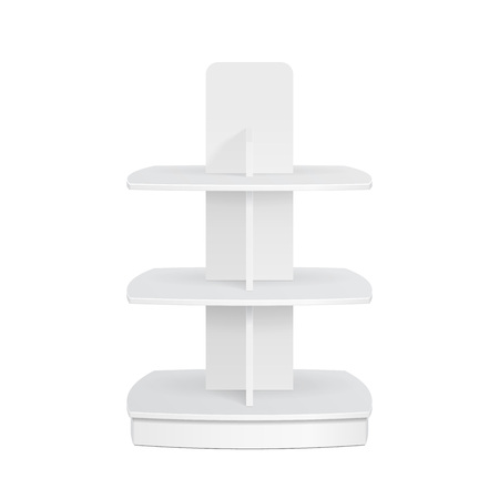 surface: Square Rounded POS POI Cardboard Floor Display Rack For Supermarket Blank Empty Displays. Products Mock Up On White Background Isolated. Ready For Your Design. Product Advertising. Vector EPS10