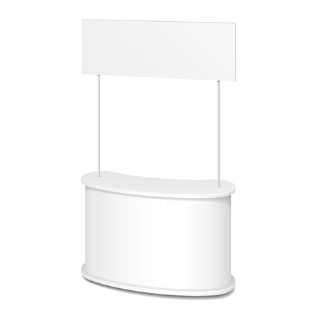 retail display: White POS POI Blank Empty Retail Stand Stall Bar Display With Roof, Canopy. On White Background Isolated. Mock Up Template Ready For Your Design. Product Packing Vector EPS10