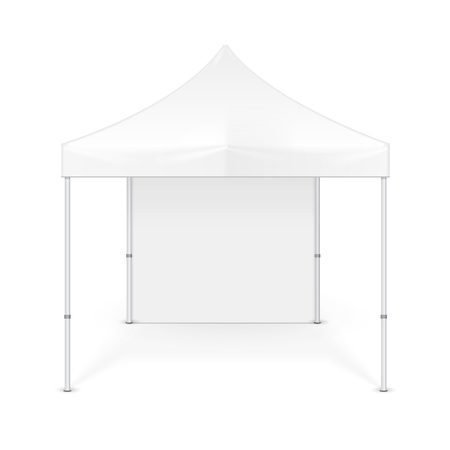 Promotional Advertising Outdoor Event Trade Show Pop-Up Tent Mobile Advertising Marquee. Mock Up, Template. Illustration Isolated On White Background. Ready For Your Design. Vectores
