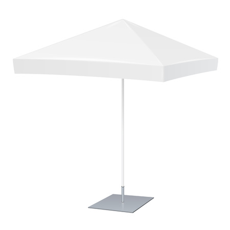 Promotional Square Advertising Outdoor Garden White Umbrella Parasol. Mock Up, Template. Illustration Isolated On White Background. Ready For Your Design. Product Advertising. Vector EPS10 Illustration