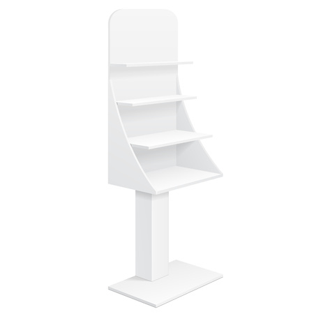 store shelf: Tabletop Stand, Cardboard Floor Display Rack For Supermarket Blank Empty Displays With Shelves Products Mock Up On White Background Isolated. Ready For Your Design. Product Advertising. Vector EPS10
