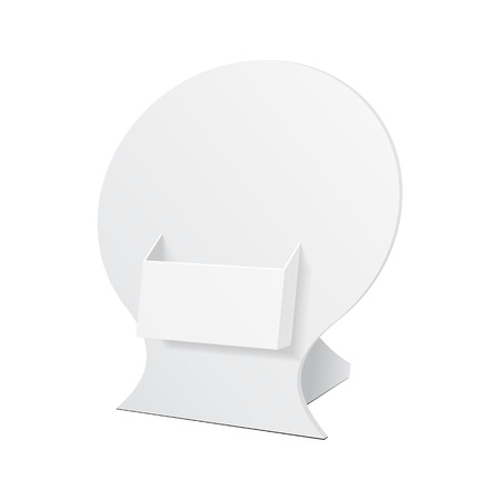poi: POS POI Cardboard Blank Empty Show Box Holder For Advertising Fliers, Leaflets Or Products On White Background Isolated. Ready For Your Design. Product Advertising. Vector EPS10 Illustration