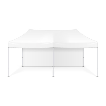 outdoor event: Promotional Advertising Outdoor Event Trade Show Pop-Up Tent Mobile Advertising Marquee. Mock Up, Template. Illustration Isolated On White Background. Ready For Your Design. Stock Photo
