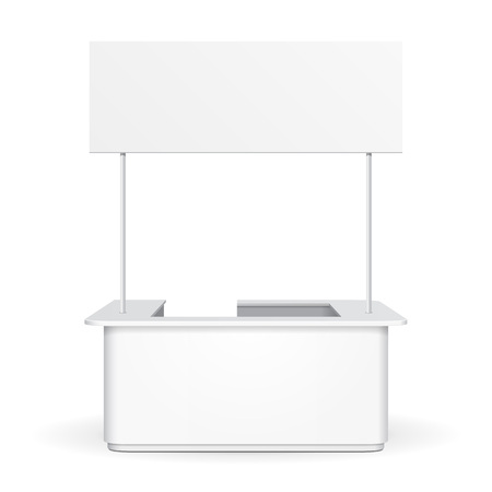 retail display: White Sqaure POS POI Blank Empty Advertising Retail Stand Stall Bar Display With Roof, Canopy, Banner. On White Background Isolated. Mock Up Template Ready For Your Design.