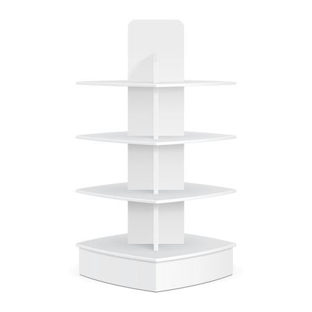 displays: Square Rounded POS POI Cardboard Floor Display Rack For Supermarket Blank Empty Displays. Products Mock Up On White Background Isolated. Stock Photo
