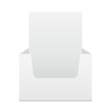 poi: White Display Holder Box POS POI Cardboard Blank Empty, Front View. On White Background Isolated. Ready For Your Design. Mockup, Mock Up, Template. Product Packing. Vector EPS10