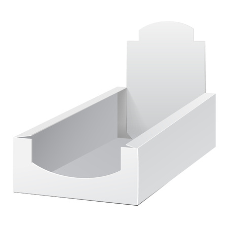 product box: Display Holder Box POS POI Cardboard Blank Empty. Mockup, Mock Up, Template. Products On White Background Isolated. Ready For Your Design.