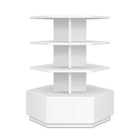 poi: Hexagon, Hexagonal POS POI Cardboard Floor Display Rack For Supermarket Blank Empty Displays. Products Mock Up On White Background Isolated. Ready For Your Design. Product Advertising. Vector EPS10 Illustration
