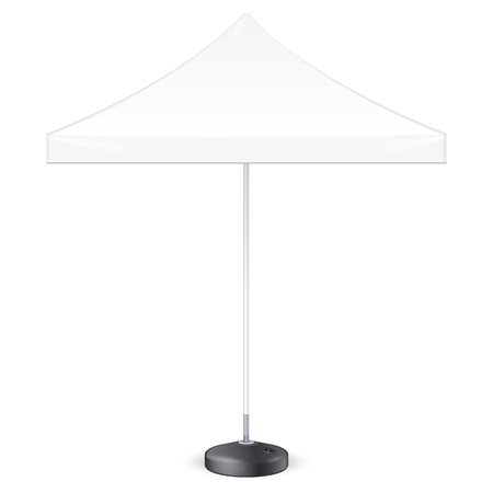 beach party: Promotional Square Advertising Outdoor Garden White Umbrella Parasol. Front View. Mock Up, Template. Illustration Isolated On White Background. Ready For Your Design. Product Advertising. Vector EPS10