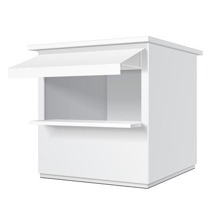 Promozionale o commerciale all'aperto Kiosk, Stand, Edicola. Open-fronteggiato Hut Or cubicolo. Mock Up, modello.