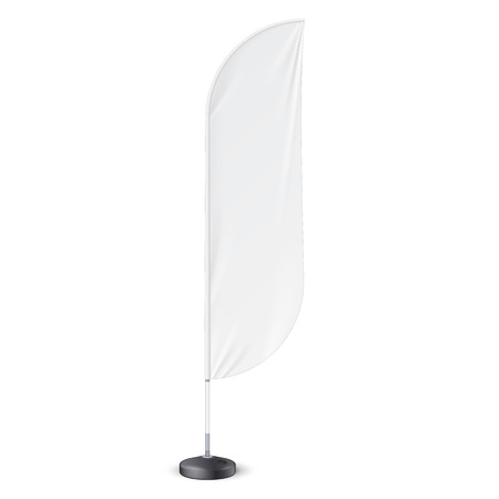 flag: Outdoor Feather Flag With Ground Fillable Water Base Stand.