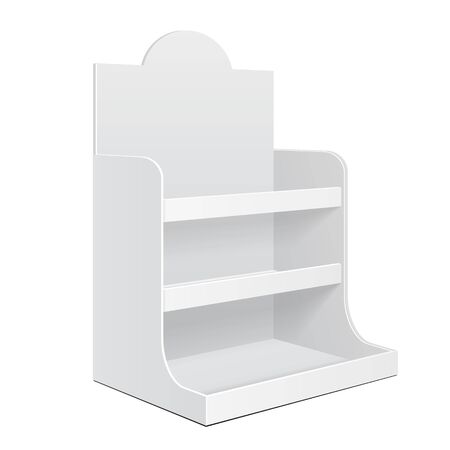 poi: Display Cardboard Counter Shelf Holder Box POS POI Blank Empty. Mockup, Mock Up, Template. On White Background Isolated. Ready For Your Design.