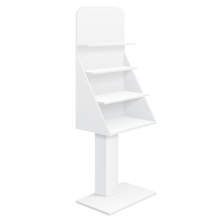 tabletop: Tabletop Stand, Cardboard Floor Display Rack For Supermarket Blank Empty With Shelves Mock Up On White Background Isolated. Ready For Your Design.