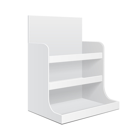 Display Cardboard Counter Shelf Holder Box POS POI Blank Empty. Packing Mockup, Mock Up, Template. On White Background Isolated.