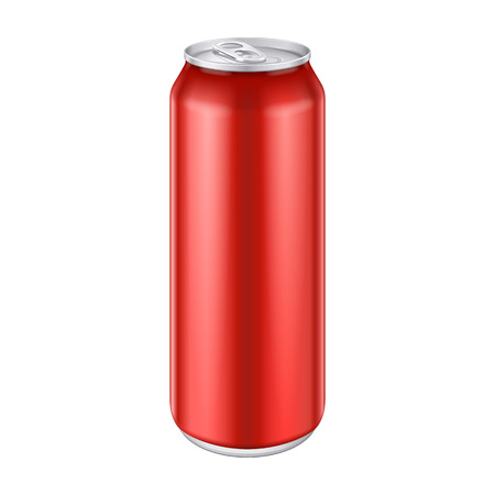 cola canette: Red Metal Aluminum Beverage Drink Can 500ml, 0,5L. Mockup Template Ready For Your Design. Isolated On White Background. Product Packing. Banque d'images