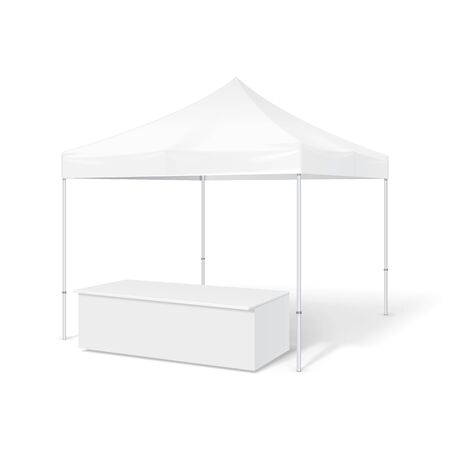 outdoor event: Promotional Outdoor Event Trade Show Pop-Up Tent Mobile Marquee. Mock Up, Template. Illustration Isolated On White Background. Ready For Your Design. Stock Photo
