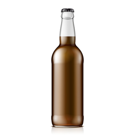 brown: Glass Cola Or Beer Brown Bottle. Carbonated drink. Mock Up Template. Illustration Isolated On White Background. Ready For Your Design. Product Packaging. Stock Photo