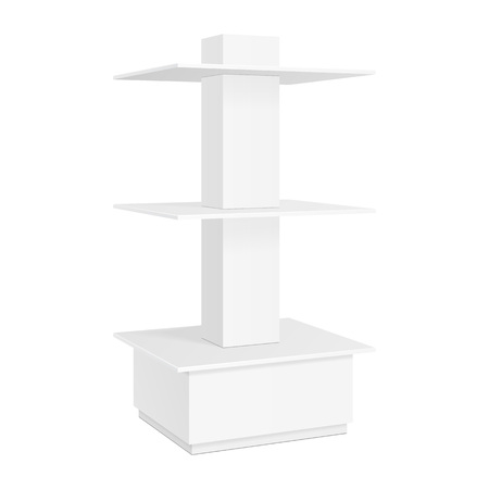 supermarket: Square Rounded POS POI Cardboard Floor Display Rack For Supermarket Blank Empty. Mock Up On White Background Isolated. Ready For Your Design. Illustration