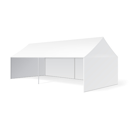 Promotional Advertising Outdoor Event Trade Show Pop-Up Tent Mobile Marquee. Mock Up, Template. Illustration Isolated On White Background. Product Advertising Vector