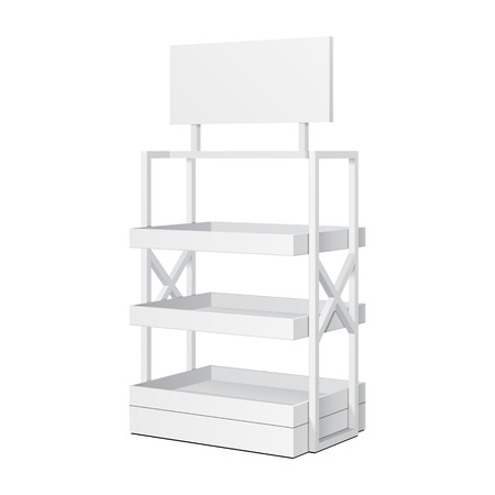 box design: Retail Shelves Floor Display Rack For Supermarket Blank Empty Displays With Banner Mock Up. 3D Illustration Isolated On White Background. Ready For Your Design. Product Advertising. Stock Photo