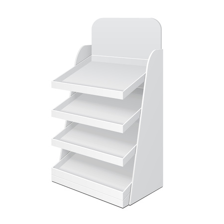 store shelf: Cardboard Ladder Floor Display Rack For Supermarket Blank Empty With Shelves Mock Up. Illustration Isolated On White Background. Ready For Your Design. Product Advertising. Vector