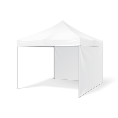 Promotional Outdoor Event Trade Show Pop-Up Tent Mobile Marquee. Mock Up, Template. Illustration Isolated On White Background. Ready For Your Design. Product Advertising. Stok Fotoğraf