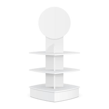 poi: Square Rounded POS POI Cardboard Floor Display Rack For Supermarket. Blank Empty Mock Up On White Background Isolated. Ready For Your Design. Product Advertising.