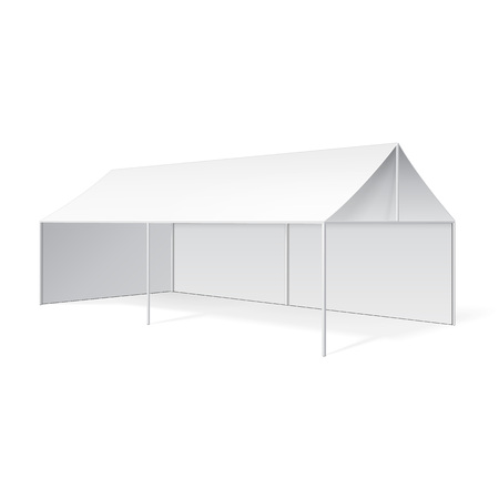 outdoor event: Promotional Advertising Outdoor Event Trade Show Pop-Up Tent Mobile Marquee. Mock Up, Template. Illustration Isolated On White Background. Product Advertising Vector