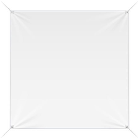 Wall Streamer Vinyl Flex Banner, Fabric, Nylon With Folds. Corners Ropes. Shield. Mock Up, Template. Illustration Isolated On White Background.