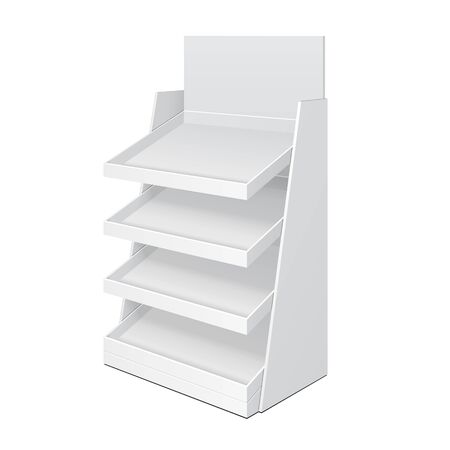grey: Cardboard Ladder Floor Display Rack For Supermarket Blank Empty With Shelves Mock Up. Illustration Isolated On White Background. Ready For Your Design. Product Advertising. Vector