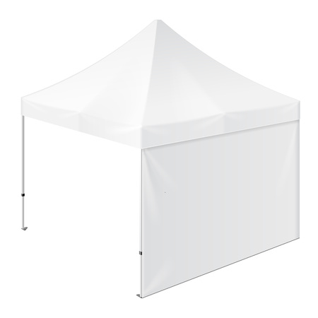 outdoor event: Promotional Outdoor Event Trade Show Pop-Up Tent Mobile Marquee. Mock Up, Template. Illustration Isolated On White Background. Ready For Your Design. Product Advertising. Vector EPS10 Illustration