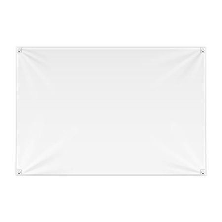 Wall Streamer Vinyl Flex Banner, Fabric, Nylon With Folds. Corners Ropes. Shield. Mock Up, Template. Illustration Isolated On White Background. Ready For Your Design. Product Advertising. Vector EPS10 Illustration