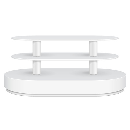 store shelf: Rounded Floor Display Rack For Supermarket Empty With Shelves. 3D. Front View. Mock Up, Template. Illustration Isolated On White Background. Ready For Your Design. Product Advertising. Vector EPS10