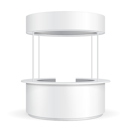 poi: Round POS POI Blank Empty Advertising Retail Stand Stall Bar Display With Roof, Canopy, Banner. On White Background Isolated. Mock Up Template Ready For Your Design. Product Advertising Vector EPS10 Illustration