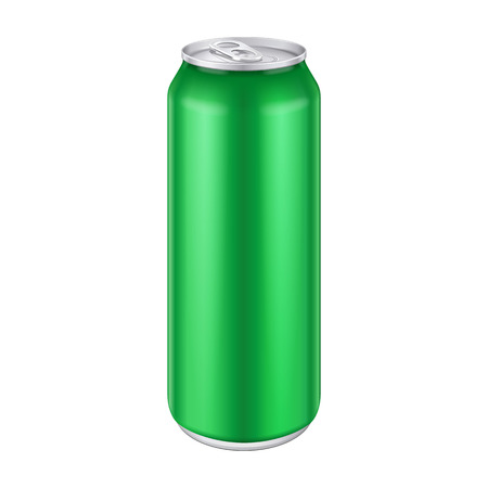 Green Metal Aluminum Beverage Drink Can 500ml, 0,5L. Mockup Template Ready For Your Design. Isolated On White Background. Product Packing. Vector EPS10 Illustration
