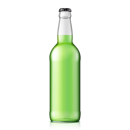 Glass Green Water Bottle. Carbonated Soft Drink. Mock Up Template. Illustration Isolated On White Background. Ready For Your Design. Product Packaging. Vector EPS10