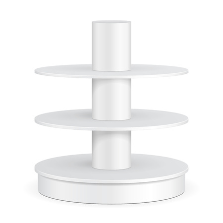 grey: Round Cardboard Floor Display Rack For Supermarket Blank Empty Shelves. Mock Up, Template. Illustration Isolated On White Background. Ready For Your Design. Product Advertising. Vector EPS10. Illustration