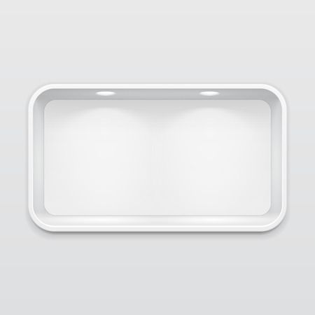 grey: Empty Rounded Niche Shelf Display In The Wall. To Present Your Product. Mock Up. 3D Illustration. Ready For Your Design. Advertising. Vector EPS10 Illustration