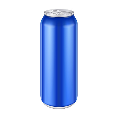 aluminum background: Blue Metal Aluminum Beverage Drink Can 500ml, 0,5L. Mockup Template Ready For Your Design. Isolated On White Background. Product Packing. Illustration