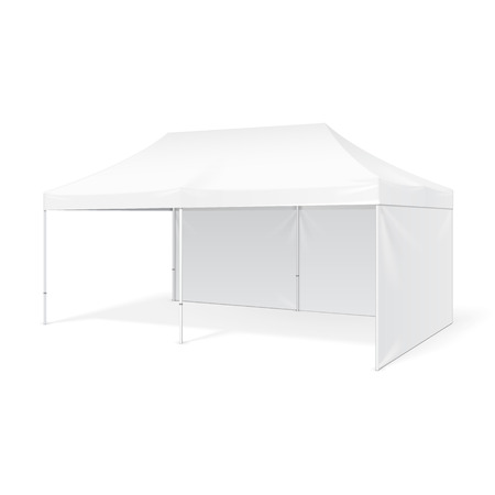 outdoor event: Promotional Advertising Outdoor Event Trade Show Pop-Up Tent Mobile Marquee. Mock Up, Template. Illustration Isolated On White Background. Product Advertising Vector illustration