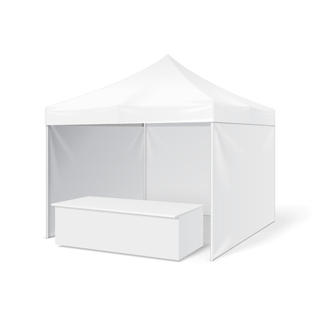 outdoor event: Promotional Outdoor Event Trade Show Pop-Up Tent Mobile Marquee. Mock Up, Template. Illustration Isolated On White Background. Ready For Your Design. Product Advertising. Illustration