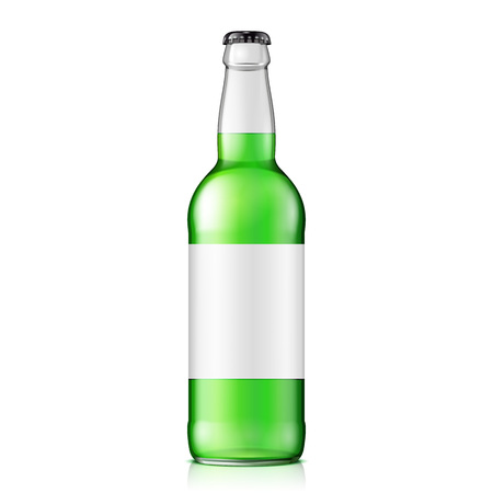 Glass Green Water Bottle on a white color.