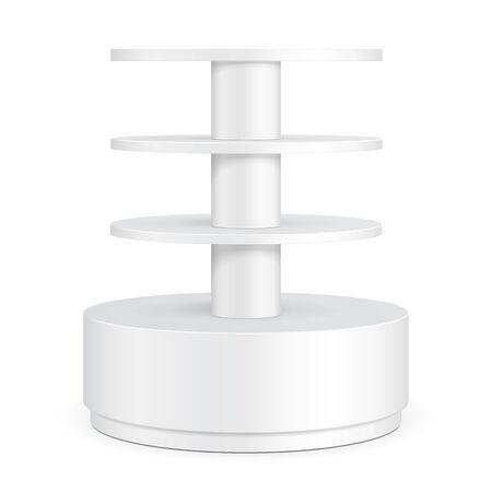 grey: Round Cardboard Floor Display Rack For Supermarket Blank Empty Shelves.