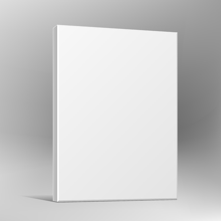 Blank software cardboard or plastic package box for your products. Mock up, template. Illustration, on gray background. Advertising. Vector illustration.