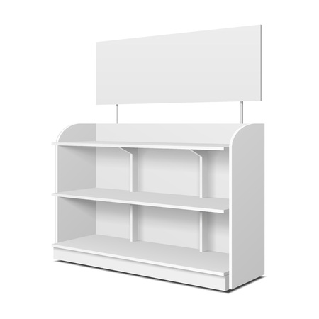Blank empty showcase displays with retail shelves, Trading rack. Mock up, Template. Illustration, isolated on white background. Ready for your design. Product advertising. Vector Illustration. Ilustração