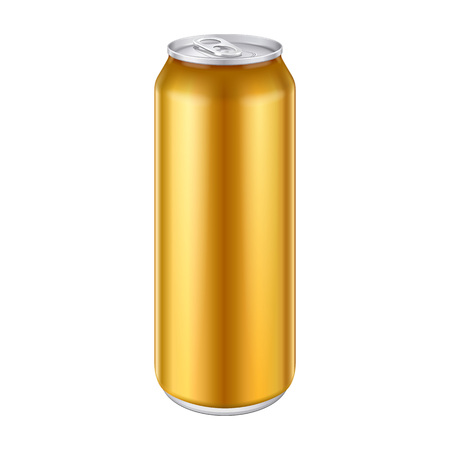 Yellow Metal Aluminum Beverage Can template vector illustration