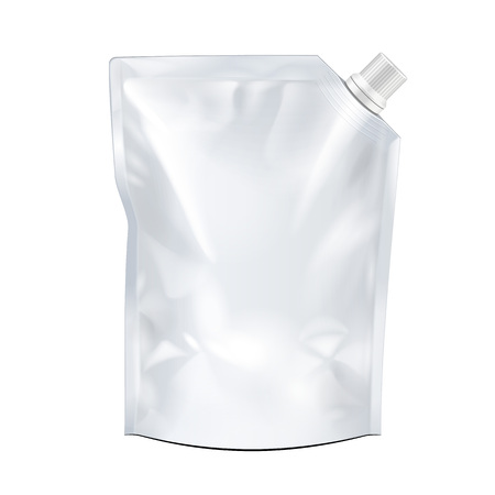 Blank food doypack flexible blank stand Up pouch bag with corner spout lid. Mock up, Template. Illustration, isolated on white background. Ready for your design. Product packaging. Vector illustration.