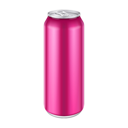 Pink Violet Purple Magenta Metal Aluminum Beverage Drink Can 500ml, 0,5L. Mockup Template Ready For Your Design. Isolated On White Background. Product Packing. Vector EPS10