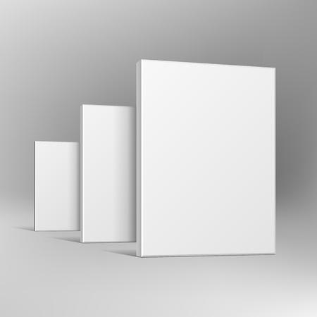 귀하의 제품에 대 한 빈 소프트웨어 골 판지 또는 플라스틱 패키지 상자 그룹. 모의, 템플릿. 회색 배경에 그림입니다. 광고하는. 벡터 EPS10