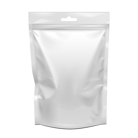 Blank Food Stand Up Flexible Pouch Snack Sachet Bag. Mock Up, Template  Illustration Isolated On White Background.
